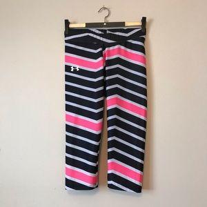 Under Armour striped capris pink white black